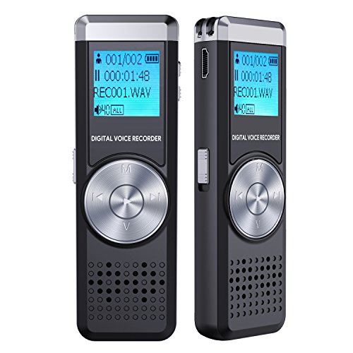 Digital Voice Recorder, TENSAFEE 8g Audio Voice Activated Recorder Rechargeable, Portable Dictaphone Sound Recorder MP3 Player for Lectures/Meetings/Interviews/Class (8G)