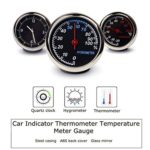 Car Dashboard Clock, Temperature Hygrometer Kit, Classic Mini Analog Quartz Auto Clock with Battery, Thermometer, Hygrometer 3pcs/Set