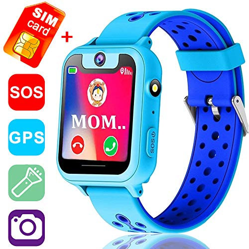 Kids Smartwatch with GPS Tracker Phone Remote Monitor Camera Touch Screen One Game Anti Lost Alarm Clock App Control by Parents for Children Boys Girls Compatible with Android iOS (Blue)