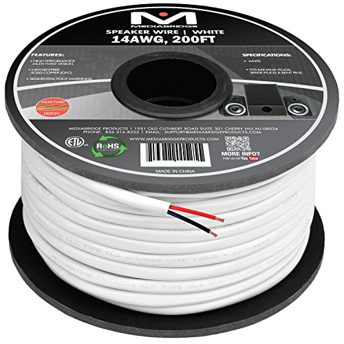 Mediabridge 14AWG 2-Conductor Speaker Wire (200 Feet, White) – 99.9% Oxygen Free Copper – ETL Listed & CL2 Rated for In-Wall Use (Part# SW-14X2-200-WH )