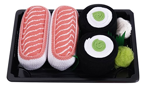 SUSHI SOCKS BOX 2 pairs Salmon Cucumber Maki Unisex FUNNY GIFT!Made in Europe S