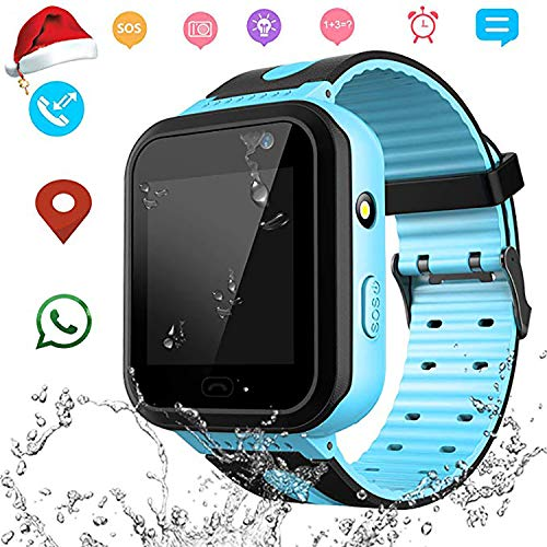 Waterproof Smart Watch Phone for Kids – IP67 Waterproof GPS Tracker with SOS Voice Chat Camera Flashlight Alarm Clock Digital Wrist Watch Smartwatch Girls Boys Birthday Christmas Thanksgiving Gifts