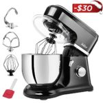 Betitay Tilt-Head Stand Food Mixer,4.5 QT Dough Kneading Machine with Stainless Steel Mixing Bowl,Flat Beater,Dough Hook,Whisk,Splash Guard,Silicon Spatula,6 Speeds(Black/Steel)