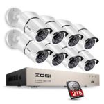 ZOSI Security Cameras System 8CH 1080P HD-TVI CCTV DVR Recorder 2TB HDD with 8 Weatherproof 1920TVL 2.0MP 1080P 100ft Night Vision Surveillance Cameras White (Aluminum Metal Housing)
