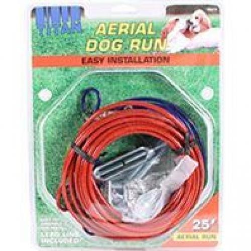 Coastal Pet Products DCP89070 Steel Titan Aerial Dog Run Cable Trolley System with Brass Plated Snaps, 25-Feet, Red by Coastal Pet