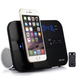 DPNAO Charging Docking Station Speakers Alarm Clock FM Radio Stereo Bluetooth Remote Apple MFi Certified (Black)