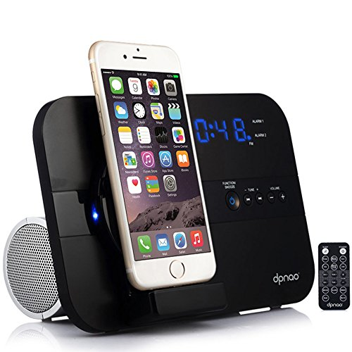 DPNAO Charging Docking Station Speakers Alarm Clock FM Radio Stereo Bluetooth Remote Apple MFi Certified (Black)