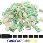 Ethernet Cable Clips,Ruaeoda 60 Pack 8mm Self-Adhesive Wire Clips, Cord Clamp Cable Management for Cat6 Cat5 and Cat7 Flat Ethernet Cable(White)