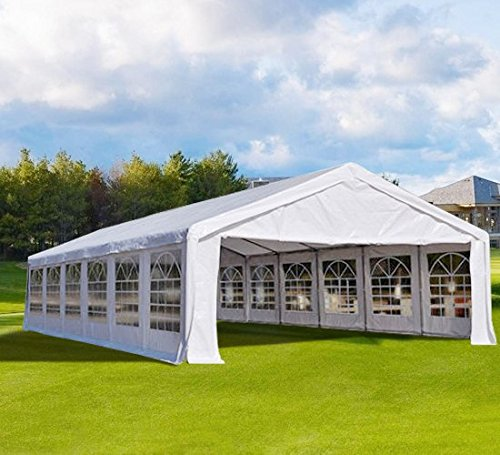 Peaktop 40′ X20′ Heavy Duty Carport Party Wedding Tent Car Shelter Canopy Gazebo Pavilion Garage with Sidewalls White