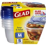Glad Food Storage Containers – Soup and Salad Containers – 24 Ounce – 5 Count