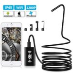 Adkwse Wireless Endoscope WiFi Borescope Inspection Camera, 2.0 Megapixels HD Semi Rigid Snake Endoscope IP68 Waterproof for iPhone, Android Smartphone, iOS, Samsung, iPad, Windows 8 Leds 33FT Black