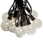 25 Foot Globe Patio String Lights – Set of 25 G50 2 Inch Clear Bulbs (Black Wire)