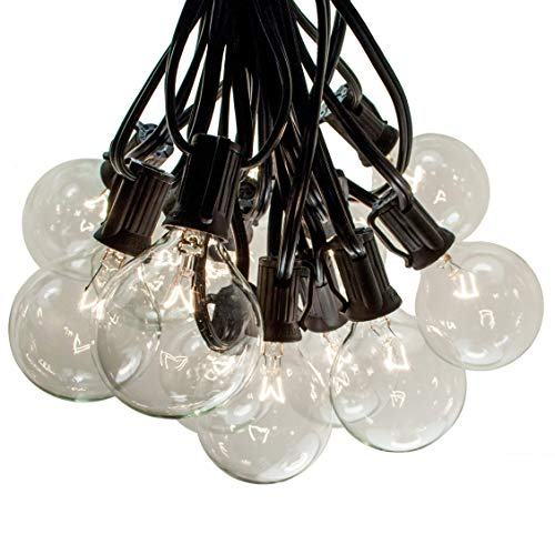 25 Foot Globe Patio String Lights - Set of 25 G50 2 Inch Clear Bulbs (Black Wire)