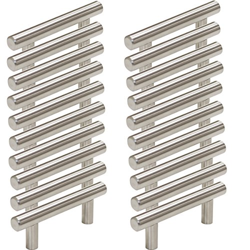 Probrico Stainless Steel Modern Cabinet Handles, Drawer Pulls, Kitchen Cupboard T Bar Knobs and Pull Handles Brushed Nickel – 2-1/2 Inch Screw Spacing – 20Pack