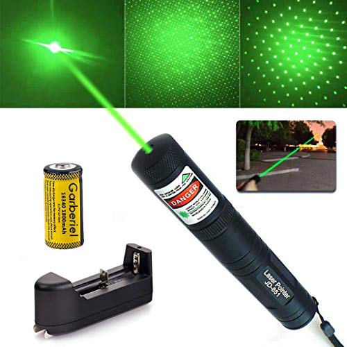 SALM Tactical Green Hunting Rifle Scope Sight Laser Pen, Demo Remote Pen Pointer Projector Travel Outdoor Flashlight, LED Interactive Baton Funny Laser Toy with Star Cap