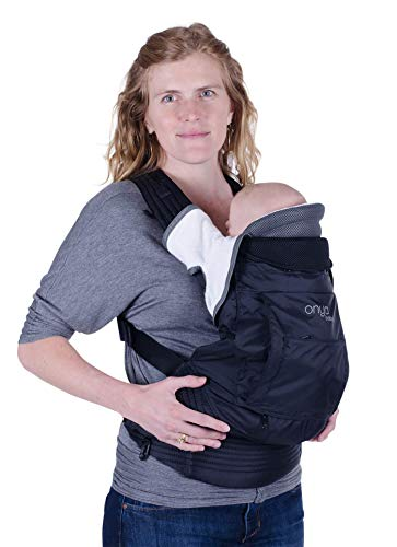 Onya Baby Outback, Booster and Chewie Infant to Toddler Bundle - Multi-Position Ergonomic Soft Structured Eco-Friendly Backpack Baby and Child Carrier with Booster and Chewie Included - Jet Black