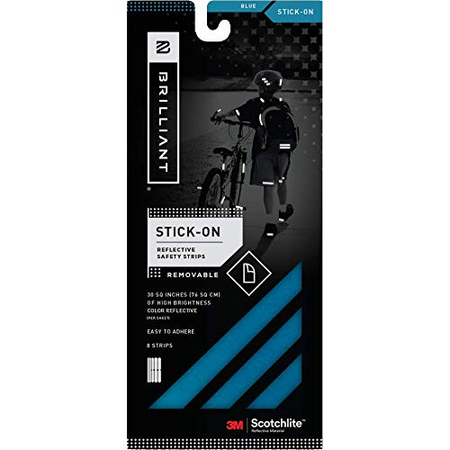 Brilliant  Reflective Reflector Strips -  Stick-On (Blue) - extremely reflective strips with 3M Scotchlite reflective material.