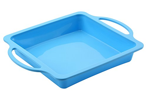 The Original Brand, TRENDS home 8 Inch Square Silicone Baking Pans. Patented Reinforced Stainless Steel Frame for Durability & Strength of a metal pan but flexibility of silicone baking.