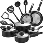 hOmeLabs 15 Piece Nonstick Cookware Set – Kitchen Pots and Pans Set Nonstick with Cooking Utensils – Oven Safe Basics Non Stick Pot and Pan Set – Black