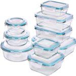 Utopia Kitchen Glass Food Storage Container Set – 18 Pieces (9 Containers and 9 Lids) – Transparent Lids – BPA Free