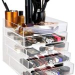 daisi Acrylic Cosmetic Makeup & Jewelry Cube Organizer | 5 Tiers – 4 Drawers & Open Top Compartment Shelf | Large Clear Display Case for Beauty Products | Stylish Storage Box with Crystal Knobs
