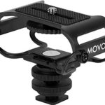 Movo SMM5-B Universal Microphone and Portable Recorder Shock Mount – Fits The Zoom H4n, H5, H6, Tascam DR-40, DR-05, DR-07 with 1/4″ Mounting Screw (Black/Black)