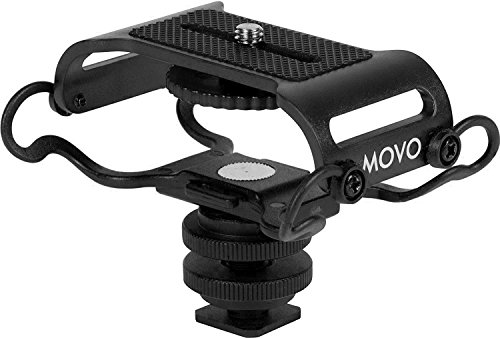 Movo SMM5-B Universal Microphone and Portable Recorder Shock Mount - Fits The Zoom H4n, H5, H6, Tascam DR-40, DR-05, DR-07 with 1/4