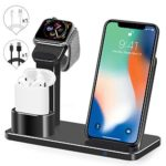 Wireless Charger Watch Stand, SENZLE 3 in 1 Wireless Charger Charging Stand Dock Station Compatible with iWatch Series 4/3/2/1/ AirPods/iPhone XR/XS/XS MAX/X/ 8/8+, iWatch Charging Stand-Black