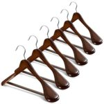 High-Grade Wide Shoulder Wooden Hangers 6 Pack with Non Slip Pants Bar – Smooth Finish Solid Wood Suit Hanger Coat Hanger, Holds upto 20lbs, 360° Swivel Hook, for Dress, Jacket, Heavy Clothes Hangers