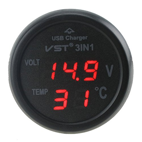 Universal Red Cigarette Lighter Car USB Port Charger Digital LED Display Voltmeter Thermometer Auto Gauge 3in1 12V-24V Battery Voltage Tester Temperature Monitor Meter