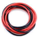Glarks 10 Gauge (AWG) Silicone Wire 12Feet (6ft Black/6ft Red) Super Soft Flexible Silicone Wire