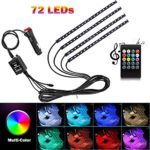 Car Interior Lights 4pcs 8 Color RGB 72 LEDMulticolor Music Car LED Strip Lights Car Atmosphere Lights, LED Strip for Car TV with Sound Active Function, Wireless Remote Control