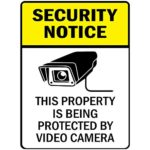 Security Notice Property is Being Protected by Video Camera Vinyl Sticker Decal 8″