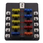 10 Ways LED Warning Blade Fuse Box Holder Fuse Block for Car, Boat, Marine Trike (Screw Terminal)