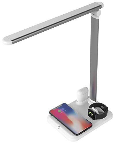 Arista Fast Wireless Charging Stand LED Desk Lamp Table Charge Station Compatible with iPhone X/XS/XR/8/8 Plus/XS Max Airpod Watch iWatch Samsung Galaxy S10+/S9+/S8/S7 Qi Enabled Phones (White)