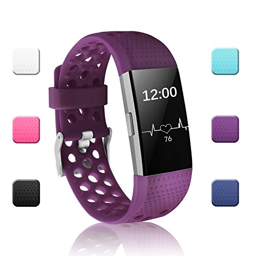 POY Replacement Bands Compatible for Fitbit Charge 2, Adjustable Breathable Wristbands with Air Holes Straps, Small Plum 1PC