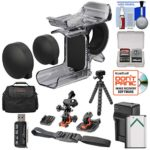 Sony AKA-FGP1 Finger Grip for HDR-AS50, HDR-AS300 & FDR-X3000 Action Cameras with 2 Helmet & Flat Surface Mounts + Battery & Charger + Case + Tripod Kit