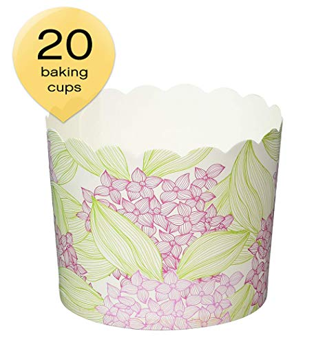 Simply Baked CLG-135 Large Disposable Paper Baking Cups Pink Floral