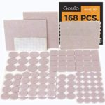 GOSSIP Felt Furniture Pads Beige – Set 168 Pcs Value Pack, Heavy Duty Adhesive Felt Pads for Furniture Feet to Protect Hardwood Flooring, Assorted Sizes with Noise Dampening Clear Bumper