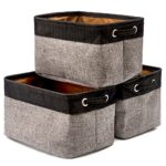 EZOWare Collapsible Large Storage Bins Basket [3-Pack] Canvas Fabric Tweed Storage Organizer Cube Set W/Handles for Nursery Kids Toddlers Home and Office – Black/Gray 15 L x 10.5 W x 9.4 H