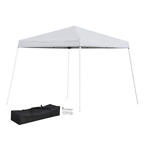 Topeakmart 10'x10' Pop Up Tent Folding Canopy Tent Wedding Party Gazebo Marquee Pavilion with Carrying Bag White