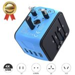 International Travel Adapter Universal Power Adapter Worldwide All in One 4 USB with Electrical Plug Perfect for European US, EU, UK, AU 160 Countries (Blue)