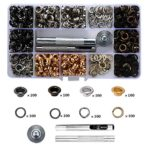 Fuman Forest 3/16 inch Multi-Color Grommet Kit,400 Sets Grommets Eyelets with 3 Pieces Install Tool Kit,Metal Eyelets with Installation Tools and Operating Instruction Book in Clear Box,for Shoe Cl