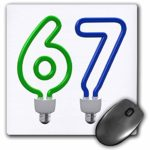 3dRose Carsten Reisinger – Numbers – Number Sixty Seven as an energy saving, colored light bulb – MousePad (mp_165715_1)