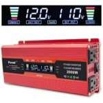 Cantonape 1000W/2000W(Peak) Car Power Inverter DC 12V to 110V AC Converter with LCD Display Dual AC Outlets and Dual USB Car Charger for Car Home Laptop Truck (Red)