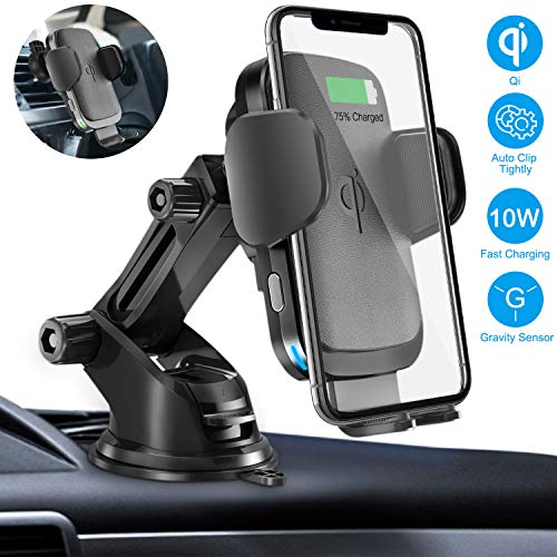 Wireless Car Charger Mount, Cshidworld Auto Clamping 10W/7.5W Qi Fast Charging Car Mount, Windshield Dashboard Air Vent Phone Holder Compatible with iPhone Xs Max XR 8 Plus, Samsung S10 S9 S8, LG V30